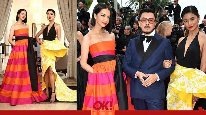 ซาร่า เล็กจ์ และ โยเกิร์ต กับชุดผ้าไหมไทย บนพรมแดงในงาน Cannes 2019